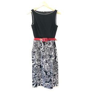 NWOT Tahari Summer Paisley Belted Sheath Dress- 4